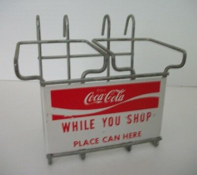Vintage 1950's Coca Cola While You Shop Two Bottle Shopping Cart Carrier Holder