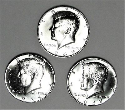 1965, 1966 And 1967 Special Mint Set Kennedy Half Dollars 40% Silver   Sms