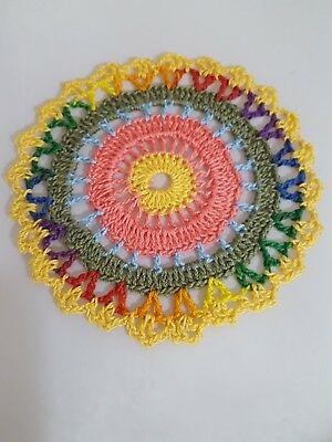 2019 Multicolor in Forest Green  Bumblebee doily Approximately 5 Inches.