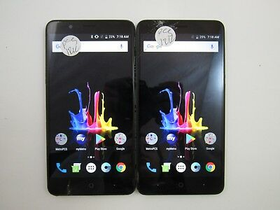 Lot of 2 Cracked ZTE Blade Z Max Z982 MetroPCS Check IMEI CR 3-1359