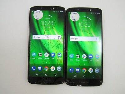 Lot of 2 Cracked Motorola Moto G6 Play XT1922-7 Unknown Check IMEI CR 3-1673