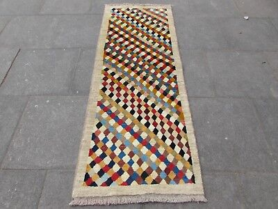 Old Traditional Hand Made Persian Oriental Cream Wool Gabbeh Runner 203x79cm