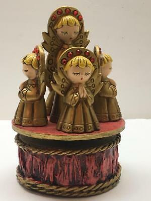 "Vintage Christmas Rotating Angel Music Box ""Silent Night"" in orig. Box Japan"
