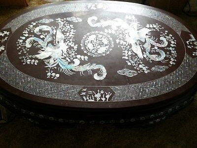 Asian vintage inlaid, big oval mother of pearl decorated, coffee table.
