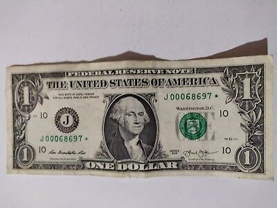 2013 1$ * Note* One Dollar Bill Star Note Serial Number - J00068697*