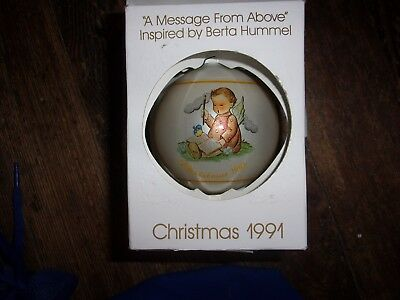 "Schmid ""A Message From Above"" Christmas 1991 Ornament Inspired by Berta Hummel"