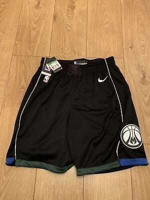 Nike NBA Milwaukee Bucks City Swingman Basketball Shorts Size Large 879982-010
