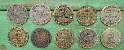10 Different Old West Brothel Token Coin Cat House Whore House Souvenir FX3