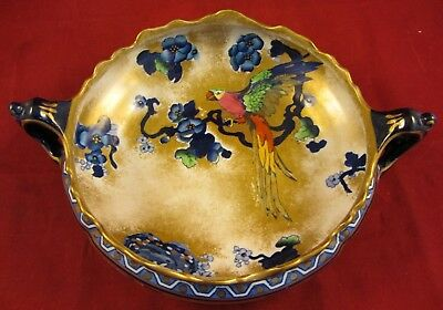 "Antique Keeling and Co. ""Andes - Macaw"" Losol Ware Bowl. Circa 1915."