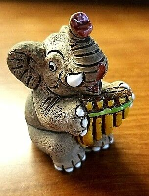Ceramic Made in Peru Elephant Figure Playing Pan Flute 2 1/2""