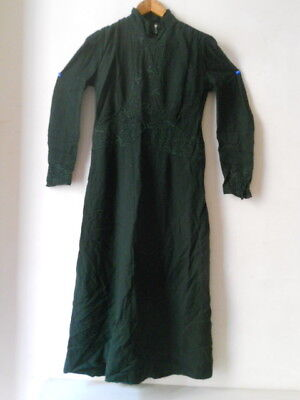 Lot Fine Robe Verte Brodee Ancien Old Dress 1900 1940 Mode Woman Outfit No Copy