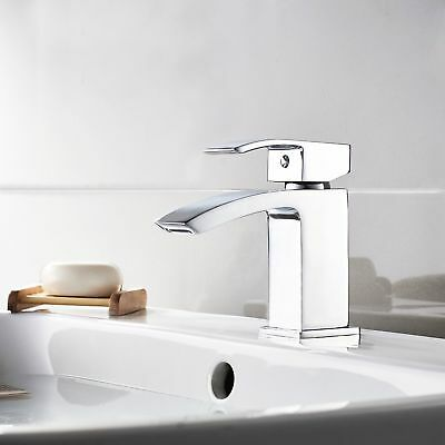 Modern Mini Mono Basin Sink Mixer Tap Curved Spout Lever Handle Cloakroom NDT