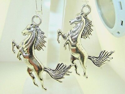 "New  X Large Rearing 3-D STALLION  Horse Silver-tone Dangle Earrings 2-5/8"" long"