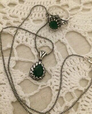 Vintage .925 Sterling Silver Green Glass Necklace