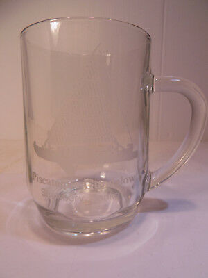Collectors Glass Mug with Piscataqua Gundalow Etched on it, from Strawbey Banke