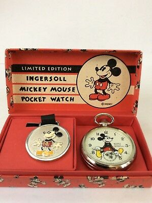 Limited Edition Ingersoll Mickey Mouse Pocket Watch 2122/5000 and Watch Fob MIB