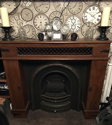 Cast Iron Fireplace Insert and Surround With Electric Fire And Remote