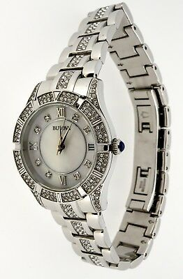 Bulova Ladies Watch Mop Dial Crystal Accents Stainless 96L116