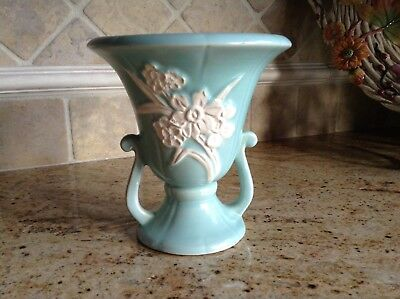 Vintage WELLER ART POTTERY AQUA FLOWER VASE