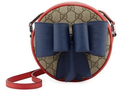 67077021982 100% Authentic Gucci Kids Supreme Bow Round Crossbody GG Shoulder Bag  messenger
