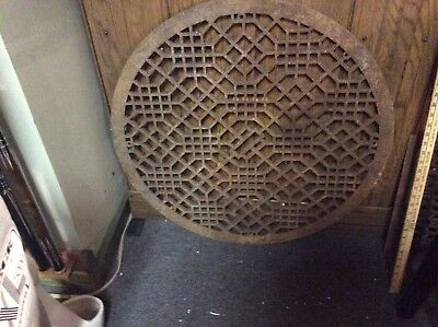"LARGE Antique Vtg CAST IRON Cold Air Return ORNATE FLOOR Heat Grate 32"" Diameter"