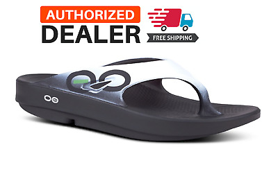 ee9acc2fa 🔥OOFOS ORIGINAL SPORT Sandals Flip Flop Recovery Thong Black Cloud White  NEW!