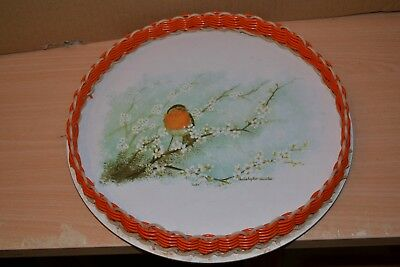 Vintage Circular Imperial Melamine Tray with Woven Surround - with  Robin  #CE