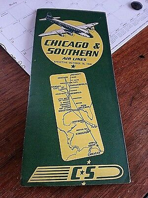"""October 1948 CHICAGO & SOUTHERN AIR LINES Timetable """"Linking Caracas-Havana..."""
