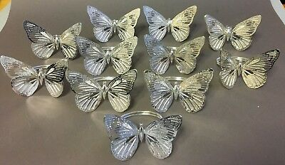 11 x VINTAGE SILVER PLATED CHRISTOFLE BUTTERFLY NAPKIN RINGS wedding serviette