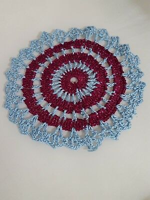 Metallic Dark Fuchsia in Baby Blue  Bumblebee doily Approximately 5 Inches.