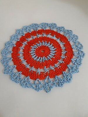 Candy Red in Baby Blue  Bumblebee doily Approximately 5 Inches.