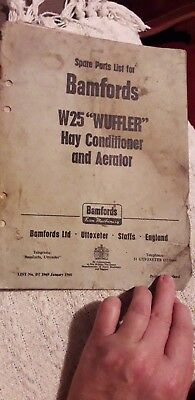 Parts List For Bamfords W25 Wuffler Hay Conditioner And Aerator Booklet