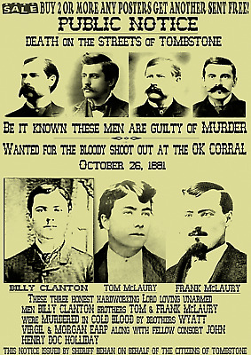 Old West Wanted Doc Poster Ok Corral Outlaw Wyatt Ringo Tombstone Ike Clanton