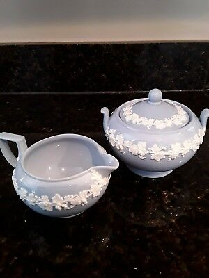 Wedgwood Queensware cream on lavender creamer and sugar-Mint