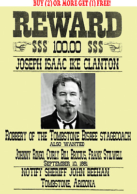 Old West Wanted Posters Tombstone Cowboy Ringo Ok Corral Doc Wyatt Ike Clanton