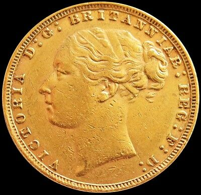 1876 Gold Great Britain Sovereign 7.98 Grams Young Head St. George Coin
