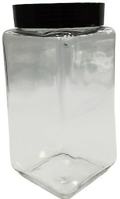Large Square Glass Storage Jar With Round Airtight Lid 1.6 Litre & 2 Litre