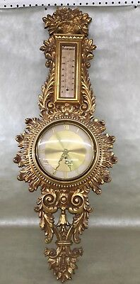 Hollywood Regency Antique French bronze PLASTIC Cartel wall clock Louis XV