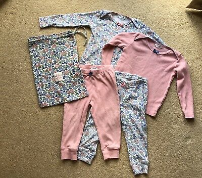 Mini Boden Baby Pyjamas Pink Floral Ditsy Print 18-24 Long Sleeved