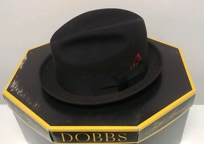 Vintage Dobbs Fifth Avenue Mens Black Felt Hat With Feather W/ Box Size 7 1/8