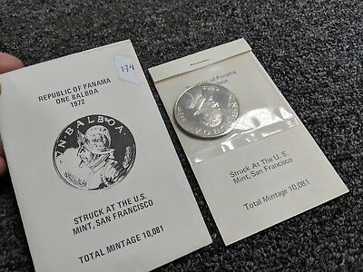 1972 Republic Of Panama 90% Silver Unc. One Balboa Coin US Mint, San Fran - #139