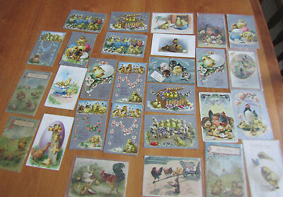 27 early 1900s Vintage Easter theme Postcards, some used, w/stamps, some not