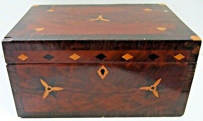 Antique Wooden Inlay Box w/Lock -Letter -Sewing -Jewelry