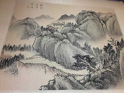 Vtg Antique Chinese Ink Watercolor  Silk Landscape Painting Art Seal Mark