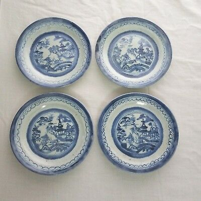 "4 Antique Chinese Export Blue White Canton Ware Porcelain 5 1/2"" Plates"
