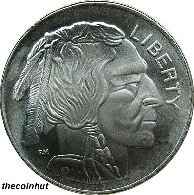 1 Troy oz. Buffalo Indian Head .999 Fine Silver Art Round Coin CoinHut5134