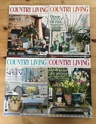 4 x 'Country Living' - January February March & April 2018 Excellent Condition