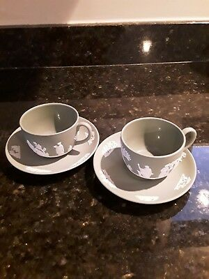 Wedgwood Jasperware,  2 cups and saucers in cream and green