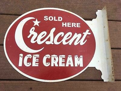 Vintage Crescent Ice Cream SOLD HERE 2 Sided Painted Advertising Store Sign