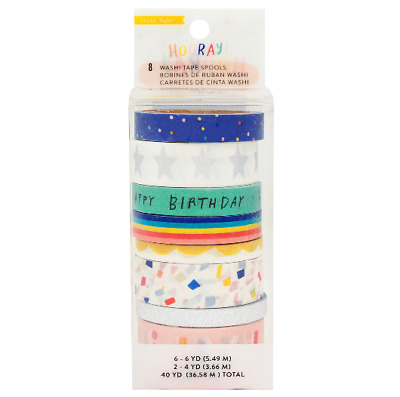 Washi Tape Set - Crate Paper - Hooray Birthday Set 8 Roll in Set  Skinny Slim